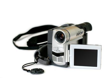 aficionado: c�mara de v�deo de aficionados con pantalla giratoria sobre fondo blanco