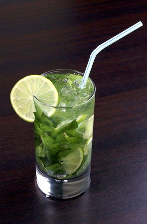 spearmint: Cuban alcoholic cocktail with rum and spearmint  Stock Photo