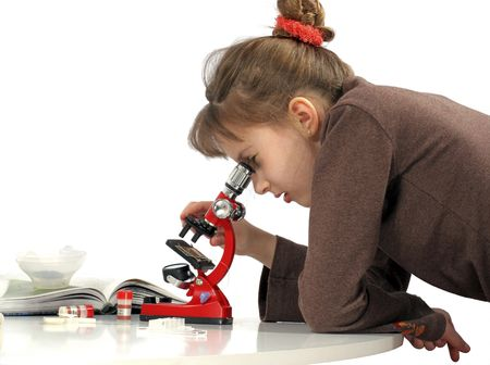 hutch: Girl peers into microscope studies construction of the hutch