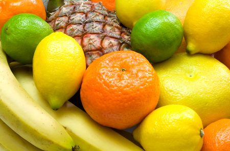 close-up view of colorful tropical fruits photo
