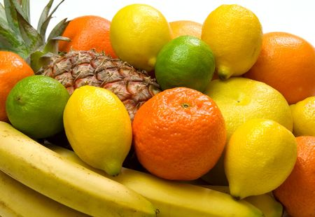 bubble acid: close-up view of some tropical fruits