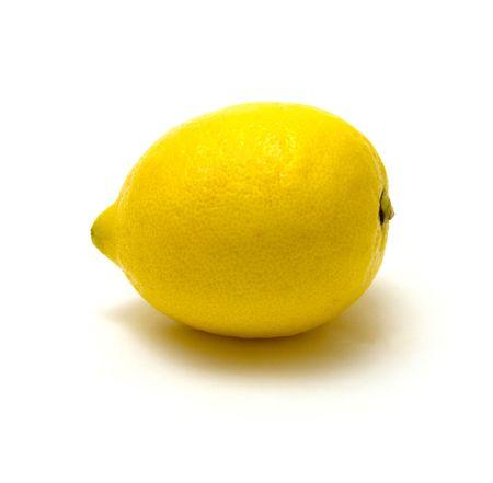 bubble acid: close-up view of lemon on white background Stock Photo