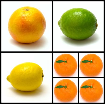 colorfull: collage of colorfull fruits on white background