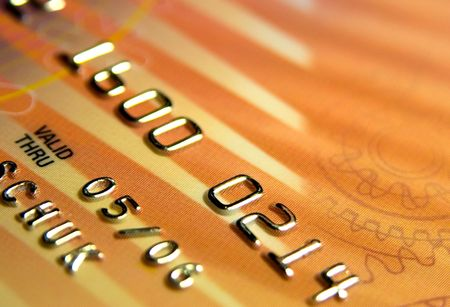 extreme close-up view of part of bank card Stock Photo - 758524
