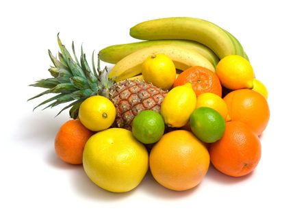 bubble acid: tropical fruits against white background