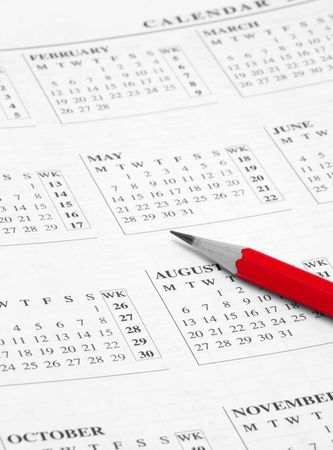 opened calendar with red pencil on it Stock Photo - 786427