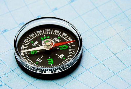 astray: close-up view of compass on the map