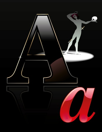 hamlet: Vector illustration of the letter A for the alphabet - Actor Illustration