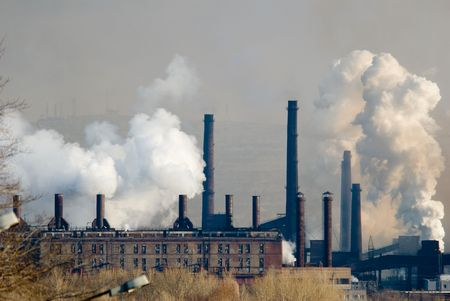 smokestacks: Iron and steel metallurgical Plant in different views