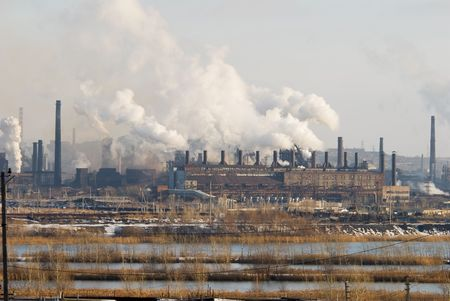 carbon emission: Iron and steel metallurgical Plant in different views