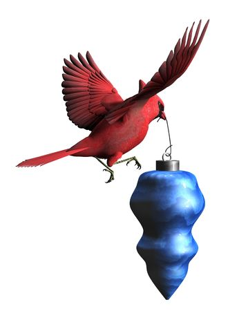 3D render of a Cardinal carrying a Christmas ornament.