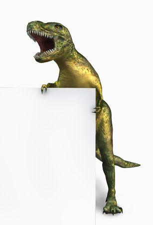 tiranosaurio rex: 3D hacen de un Tyrannosaurus Rex (dinosaurio) la celebraci�n de las orillas de un signo en blanco.  Foto de archivo