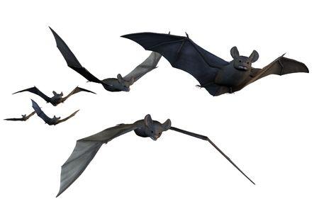 bats: 3D render depicting bats in flight.