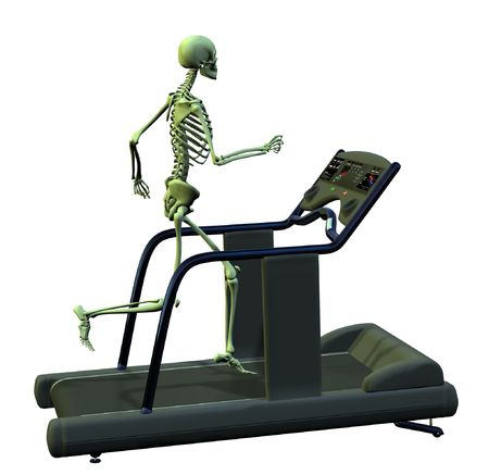 3D Render - A skeleton runs on a treadmill - this is a diet gone too far! Stock Photo