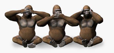 cliche': 3D render of 3 gorillas - see, hear, speak no evil.