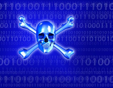 3D render of a skull and crossbones - binary background.