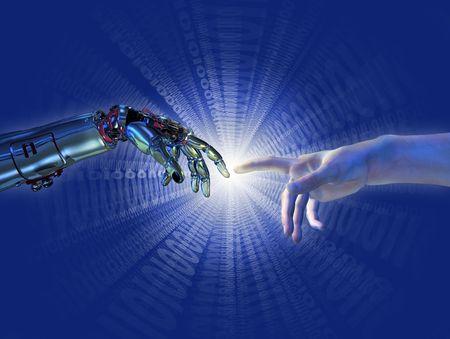 intelligence: Robot y manos humanas casi tocar con una r�faga binaria de la luz - procesamiento 3D con pintura digital. Un moderno tomar sobre la famosa pintura de Miguel �ngel en la Capilla Sixtina; titulado,
