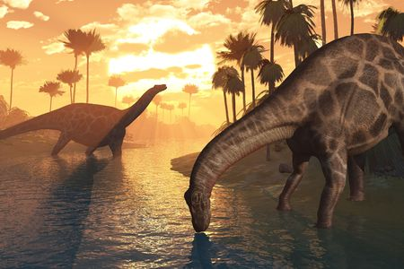 Two Dicraeosaurus dinosaurs in a prehistoric sunrise landscape - 3D render.