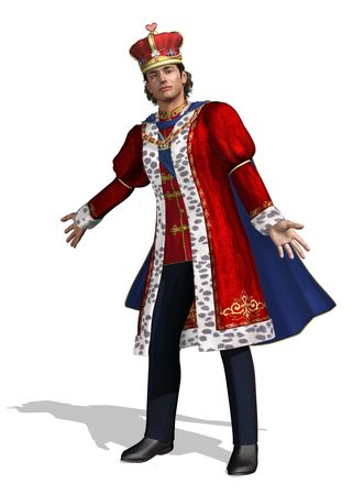 royal: A royal greeting, an ornately dressed king welcomes you - 3D render.