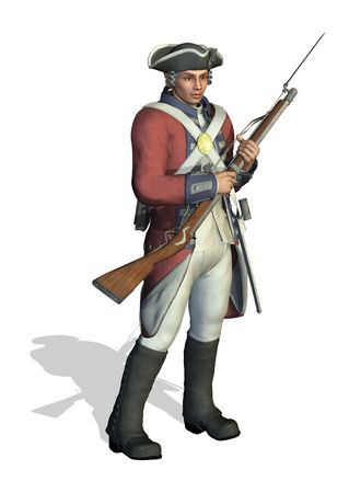american revolution: 3D render depicting a soldier from the American Revolution.