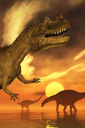 A prehistoric sunset scene, with a Ceratosaurus dinosaur in the foreground with two Dicraeosaurus dinosaurs at a distance. 3D render with digital painting.