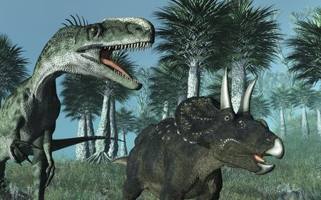 Prehistoric scene featuring ceratosaurus and diceratops dinosaurs - 3D render.