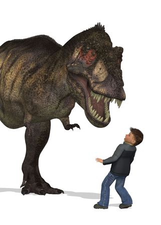 fascination: A boy is awestruck by the sight of a Tyrannosaurus Rex standing right in front of him - 3D render.