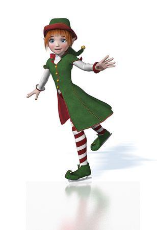 elves: A cute Christmas Elf enjoys ice skating - 3D render.