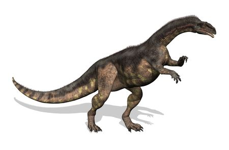 measured: Plateosaurus dinosaur - 3D render. This dinosaur lived during the late Triassic period. Adults measured between 16 to 33 feet long. Stock Photo