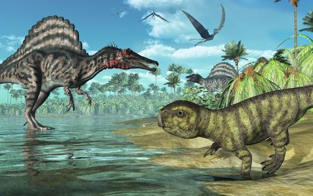 A tropical prehistoric scene with several dinosaurs, including two spinosauruses, a psittacosaurus in the foreground, and three dorygnathuses in flight. 3D render Stock Photo