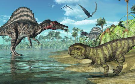 extinction: Une sc�ne tropicale pr�historique avec des dinosaures de plusieurs, dont deux spinosauruses, un Psittacosaurus au premier plan, et trois dorygnathuses en vol. Rendu 3D