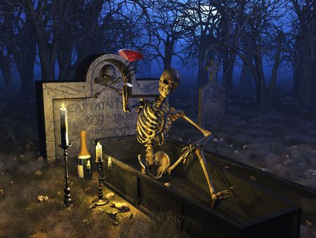 A fun loving party skeleton enjoys a blood martini in a graveyard - 3D render.