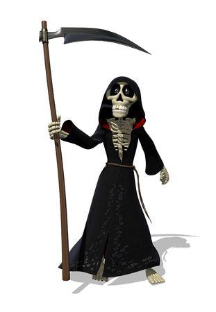 Cartoon Grim Reaper - 3D render. Stock Photo - 8031535