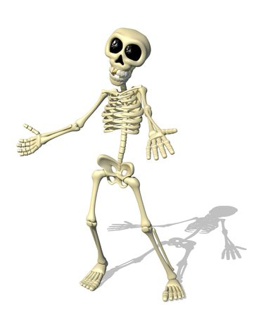 A cartoon skeleton welcomes you - 3D render. Stock Photo - 8031534