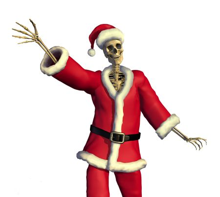 A skeleton Santa wishes you a Merry Christmas! 3D render with digital painting.