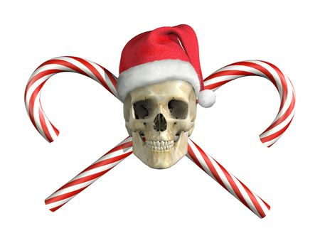 A skull and crossbones type of image with a Christmas twist! 3D render with digital painting. photo
