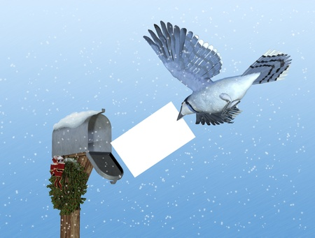 bluejay: A bluejay brings a special delivery to a rural mailbox decorated with a Christmas wreath - 3D render with digital painting. The envelope is left blank for your message.