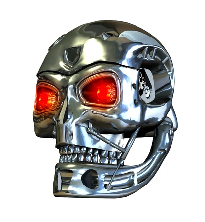 A RoboSkull with glowing red eyes - 3D render. photo