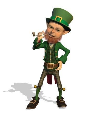 leprechaun: A friendly leprechaun enjoys his pipe - 3D render. Stock Photo