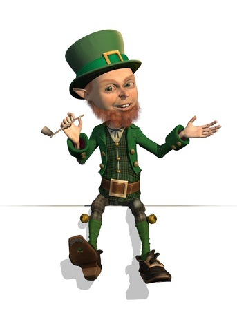 A friendly leprechaun is sitting on an edge or border - 3D render. photo