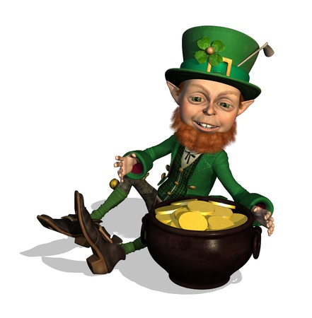 legends folklore: A leprechaun has discovered a pot of gold! 3D render.