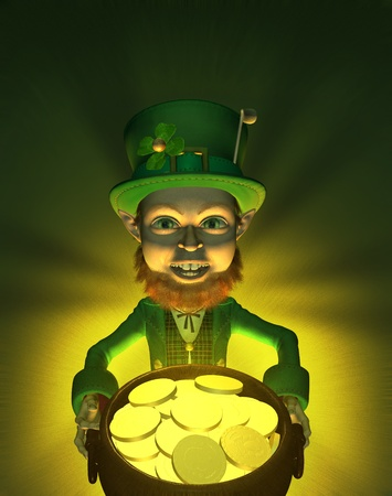 imp: A leprechaun finds a pot of gold - hes rich!! 3D render with digital painting.