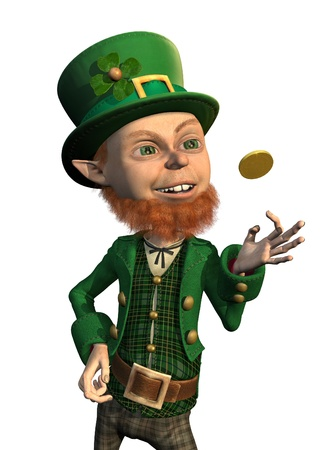 A lucky leprechaun flips a gold coin - 3D render.
