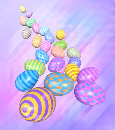 tumbling: A group of colorful Easter eggs come tumbling down toward the viewer - 3D render