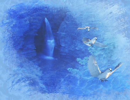 renders: A cool waterfall and three doves complete this digital painting - photos, 3d renders and painting were all created by me. The waterfall was photographed in Watkins Glen, New York. Stock Photo