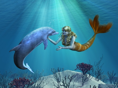 A friendly dolphin greets a mermaid undersea - 3D render with digital painting.  Stock Photo