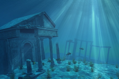 Mysterious ruins of a former civilization lie forgotten undersea - 3D render with digital painting. Stock Photo - 9171409