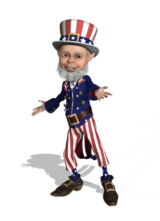 sam: Uncle Sam welcomes you - 3D render. Stock Photo