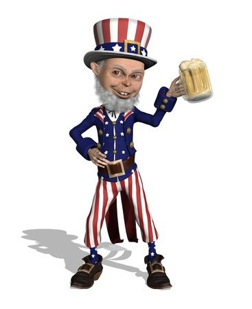 Uncles Sam enjoys a mug of beer - 3D render. Stock Photo - 9205920