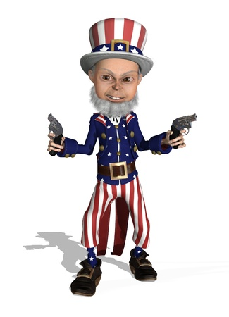 Uncle Sam is brandishing two guns - 3D render. Stock Photo - 9205921